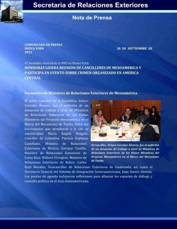 HONDURAS LIDERA REUNION DE CANCILLERES DE ...