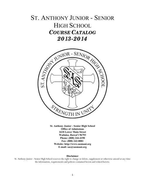 Course Catalog - St  Anthony Junior-Senior High School