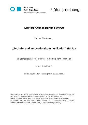 Prüfungsordnung - Fachbereich Elektrotechnik, Maschinenbau und ...