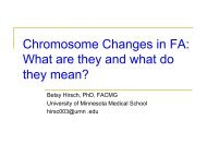 Chromosome Changes in FA: What are they and what do they mean?