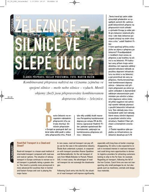 Dopravní noviny 9/2003: železnice - silnice ve ... - Bohemiakombi