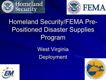 FEMA Prepositioned Disaster Supplies - West Virginia Division of ...