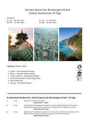 Auf den Spuren der Benshengren & Ami Taiwan Studienreise 16 Tage