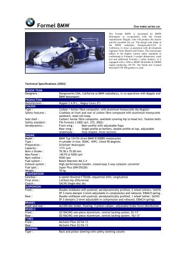 2002 Formel BMW - Motorsports Almanac