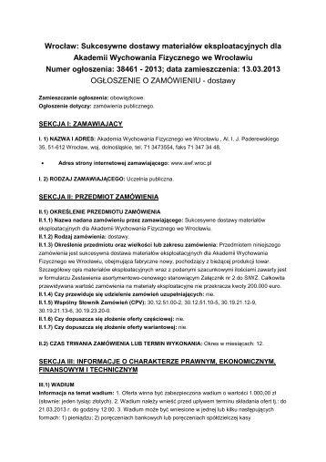 Ogłoszenie o zamówieniu - Akademia Wychowania Fizycznego we ...