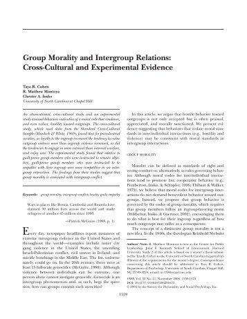 Group Morality and Intergroup Relations - Wharton Marketing