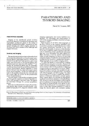 PARATHYROID AND THYROID IMAGING - Neuroradiology