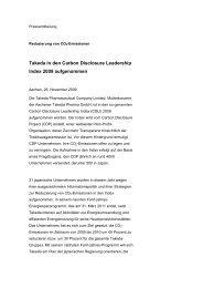 Takeda in den Carbon Disclosure Leadership Index 2009 ...