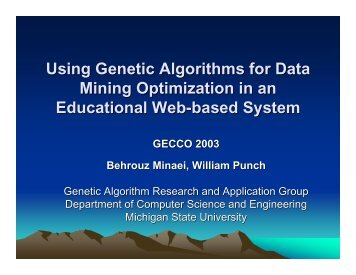 Using Genetic Algorithms for Data Mining Optimization ... - Lon Capa