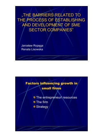 the barriers related to the process of establishing and development ...
