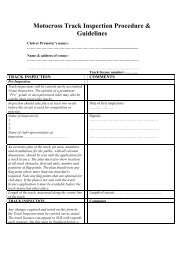 Motocross Track Inspection Procedure & Guidelines - Motorcycling ...