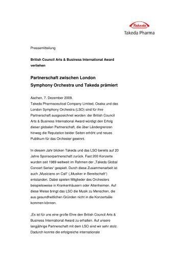 Partnerschaft zwischen London Symphony Orchestra und Takeda ...