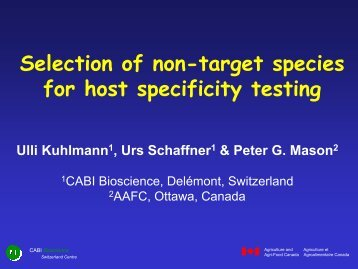 Selection of non-target species for host specificity ... - COST Action 850