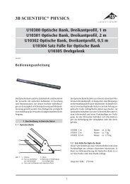 3B SCIENTIFIC® PHYSICS U10300 Optische Bank, Dreikantprofil, 1 m