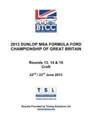 22-230613 Croft Results - British Formula Ford