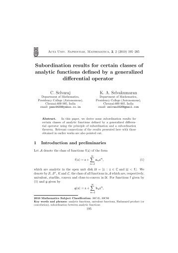 Subordination results for certain classes of analytic functions defined ...