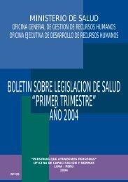 boletin sobre legislacion de salud - Bvs.minsa.gob.pe - Ministerio de ...