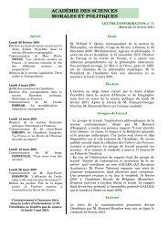 Mercredi 21 février 2001 - Académie des sciences morales et ...