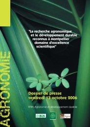 Dossier de presse RTRA Agronomie et développement ... - Agropolis