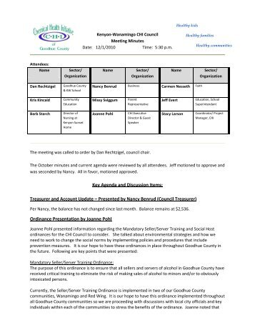 Key Agenda and Discussion Items - CHI of Goodhue County