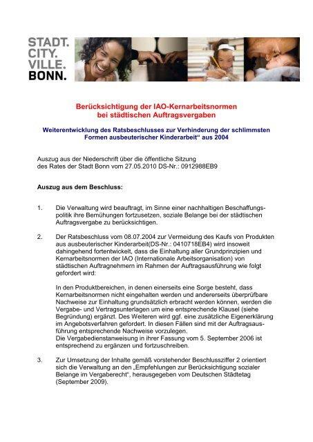 Weiterentwicklung Ratsbeschluss ILO Kernarbeitsnormen Bonn