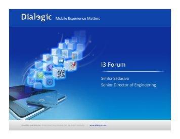 Dialogic Inc. - i3forum