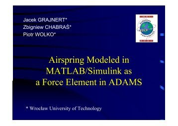 Airspring Modeled in MATLAB/Simulink as a Force ... - MSC Software