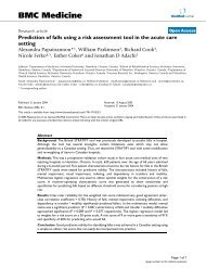 Prediction of falls using a risk assessment tool in the acute care setting