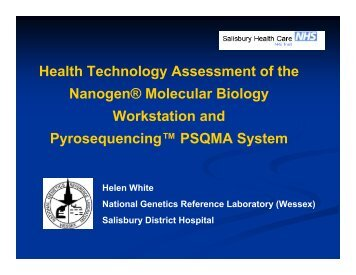 Pyrosequencing vs Nanogen. - National Genetics Reference ...