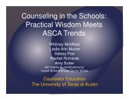 Counseling in the Schools - Texas Counseling Association