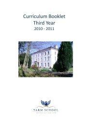 Curriculum Booklet Third Year - Yarm School