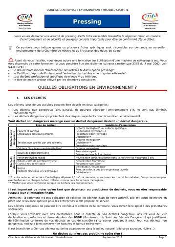 Pressing - Chambre de Métiers et de l'Artisanat des Hauts-de-Seine