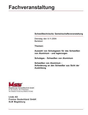 Fachveranstaltung - MSS Magdeburger Schweiß