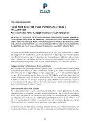 """Philip Nerb bewertet Pylon Performance Fonds I mit """"sehr gut"""""""