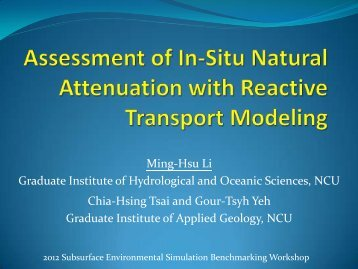 Assessment of Natural Attenuation with Reactive Transport Modeling
