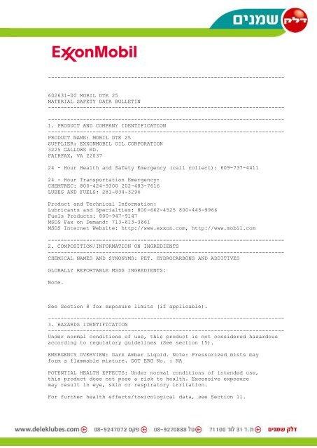602631-00 mobil dte 25 material safety data bulletin delkol.