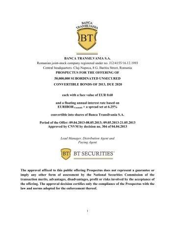 BANCA TRANSILVANIA S.A. Romanian joint-stock company ...