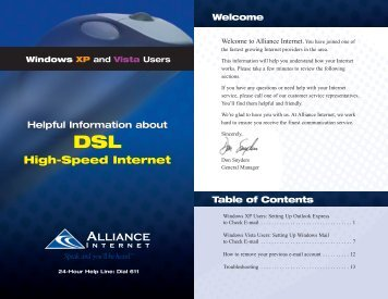 Windows XP and Vista Users - Alliance Communications
