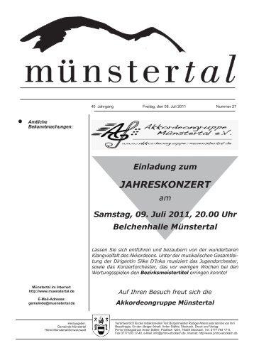 Einladung zum JAHRESKONZERT am Samstag, 09 ... - Münstertal