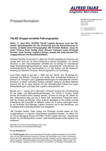 Pressemitteilung im PDF-Format - TALKE Logistic Services