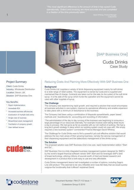 Cuda Drinks SAP Case Study PDF, 893KB - Codestone