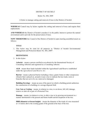 Environmental Management & Protection Bylaw - District of Sechelt