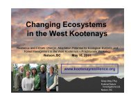 Changing Ecosystems in the West Kootenays - Kootenay Resilience