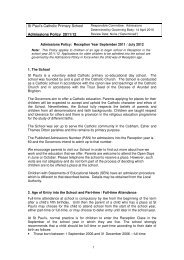 St Paul's Catholic Primary School Admissions Policy 2011/12