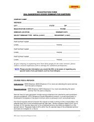 Dangerous Goods Training Registration and Payment form - DHL