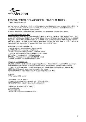 conseil municipal du mercredi 2 fevrier 2011 - Ville de Meudon