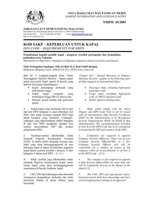 KOD SAKP – KEPERLUAN UNTUK KAPAL - Jabatan Laut Malaysia