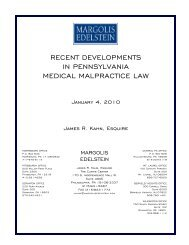 recent developments in pennsylvania medical malpractice law
