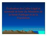 Analyse du cadre légal de la santé en vue de soutenir une réforme ...