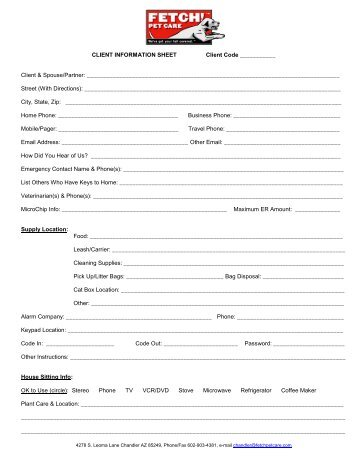 pet sitting service information sheet authorization fetch pet care